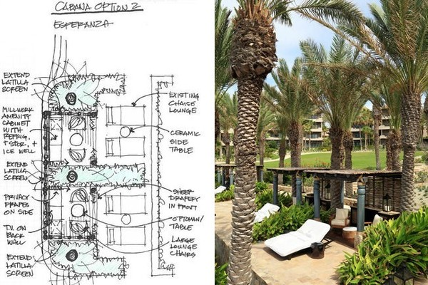 The poolside cabana area as sketched by Mary Alice Palmer, and (at right) one of the latilla-screen cabanas.