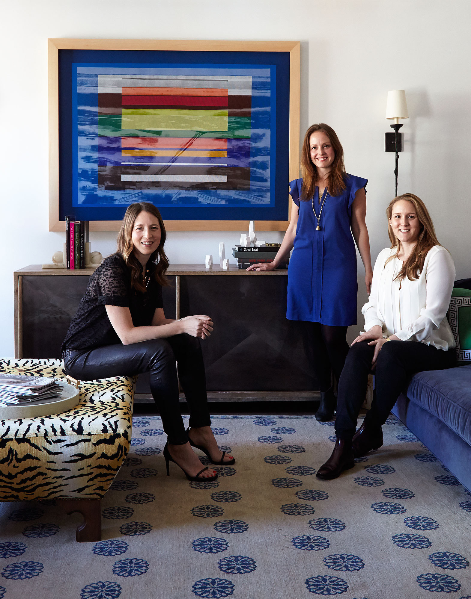 Interior designers Jenny Vorhoff and Britt Zunino and Kate Gray in the living room of their completed Tribeca loft project.