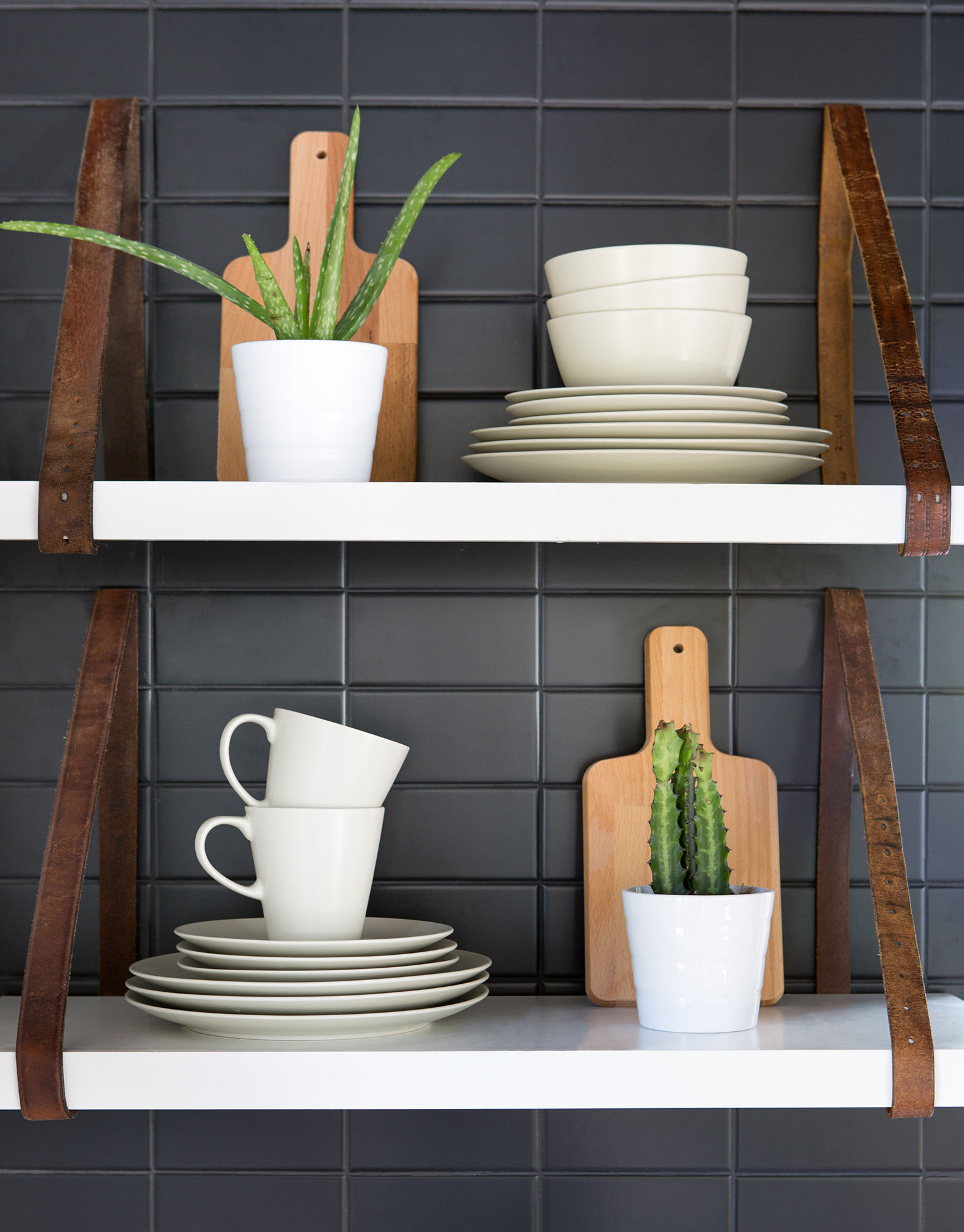 Kitchen accessories in woods and whites look cohesive, not busy.