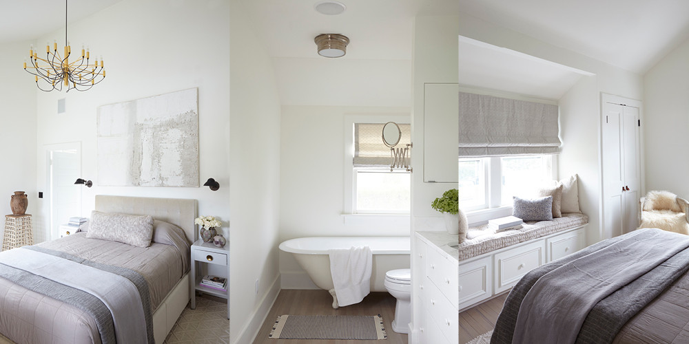 Huniford removed the flat dropped ceiling to create an airy master bedroom. The designer expanded the master bathroom to include a claw foot tub. An inviting window seat looks out onto the house's expansive patio.