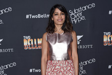 Look of the Day: Freida Pinto's Mod in Metallics