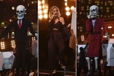 Katy Perry Dances With Donald Trump and Theresa May Skeletons During Brit Awards Performance